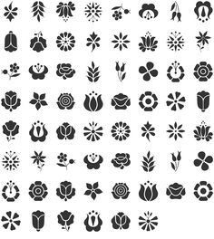 Kalocsai Flowers Dingbat Specimen - circles Behind the ear Hungarian Embroidery, Folk Embroidery, Embroidery Patterns, Hungarian Tattoo, Folk Art Flowers, Flower Art, Flower Henna, Tattoo Flowers, Henna Designs
