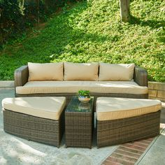 The-Hom Amelia 4 Piece Deep Seating Group with Cushions & Reviews | Wayfair