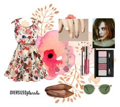 """Oversized Florals"" by emily-dickson-1 ❤ liked on Polyvore featuring Betsey Johnson, By Terry and Oliver Peoples"