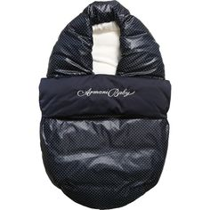 Armani Baby unisex navy blue polka dot padded baby nest made from smooth fabric with a luxuriously soft ivory fleece lining and embroidered logo lettering on the front. It has two front zips to fasten, making it easy to move your sleeping baby, and the hood can be folded back and used a pillow as your baby grows. With purpose cut slits at the back, it can be used in the car seat or stroller.<br /> <ul> <li>100% polyester (smooth and shiny)</li> <li>Super soft, fleecy lining</li> <li>Lightly…