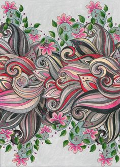 Coloring Pages For Adults Pink Flowers Colored With Prismacolor Pencils By SandraKZ
