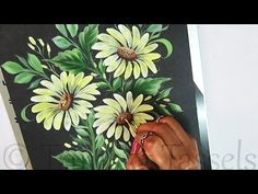 How to paint One Stroke Daisy using Round Brush Easy Flower Painting, Basic Painting, One Stroke Painting, Painting For Kids, Diy Painting, Watercolor Painting, Metallic Colors, Acrylic Colors, Brush Pen Calligraphy