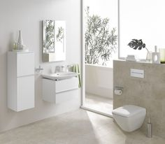 Everything in this set is wall-hung, from the cabinets to the vanity and toilet. Palace Collection by LAUFEN. Price upon request, SPLASH. Wall Hanging, Hanging Pans, Vanity, Wall, Bathroom Sink Fixtures, Laufen Bathroom, Hanging, Amazing Bathrooms, Bathroom Sink