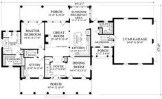 First Floor Plan of Colonial   Country   Plantation   Southern   House Plan 86148