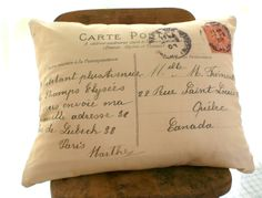 French Letter Pillow Cover by HensinDaisies on Etsy, $22.00