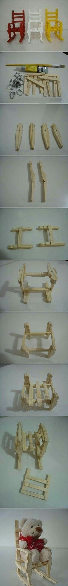 How cute are these chairs made with clothespins.