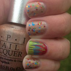 Silly Lily J-E-L-L-O over OPI DS Classic w a needle drag accent nail using SH Insta Dri polishes.