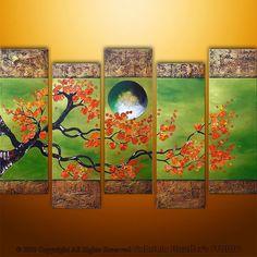Abstract Modern Asian Zen Blossom Tree Landscape Painting Original Art by Gabriela