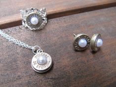 Bullet Jewelry- 38 Special Bullet Jewelry Set with Earrings, Necklace and Ring with Pearl Accents - amendment Jewelry - Jagdschmuck Jewelry Sets, Jewelry Accessories, Fine Jewelry, Jewelry Necklaces, Jewlery, Bracelets, Diamond Choker, Gold Choker, Clip On Earrings