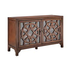 Fleur De Lis Living Two-door bar cabinet with three removable wine racks, one adjustable shelf, and wire management on the back panel. Glass front door panels with overlapping circular fretwork on door fronts. Bar Furniture, Furniture Deals, Furniture Market, Cabinet Furniture, Furniture Companies, Online Furniture, Door Bar, Glass Front Door, Glass Doors