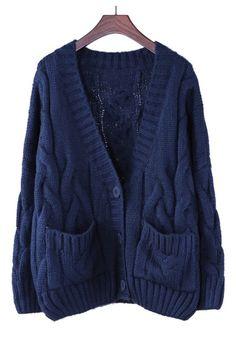 Beautiful Blue Plain Pocket V-neck Thick Cable Knit Cotton Blend Cardigan! Gorgeous Oversized Cable knit pattern!  #blue #cable #knit #cardigan