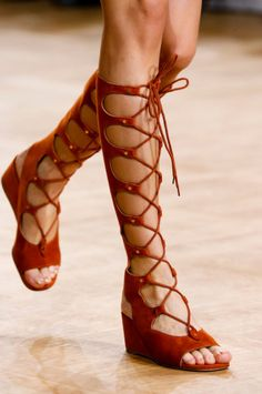 The Top 7 Accessory Trends of Spring 2015 – Vogue - Chloé  Orange suede Wedge gladiators for Spring Summer 15 at Chloe.