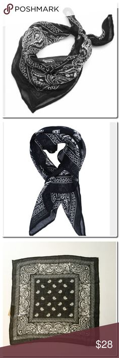 """Chan Luu Black scarf Bandana print neckerchief Black Semi sheer 100% viscose Dry clean only Measures approximately 19""""l x 19""""w One size Comes with a storage pouch Chan Luu Accessories Scarves & Wraps"""