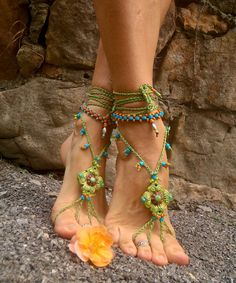 NEW Pistachio BAREFOOT SANDALS green Sandals Soleless shoes crochet beach wedding bohemian gypsy shoes