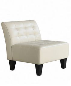 Orso Leather Living Room Chair, Armless Chair 31W x 32D x 32H - Chairs - furniture - Macy's