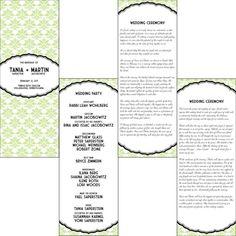 Printable Jewish wedding program vertical by BullCityStudio, $40.00