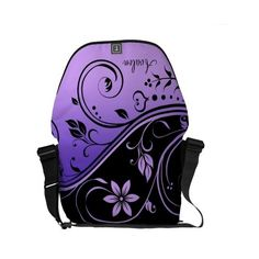 Black & Purple Floral Scroll Messenger Bag ($111) ❤ liked on Polyvore featuring bags, messenger bags, floral print messenger bag, floral messenger bag, messenger bag, black floral bag and floral print bags