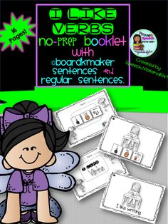 Speech therapy. I like verbs! I LIKE VERB+ING no-prep booklet with ©boardmaker sentences or regular sentences. 16 verbs!
