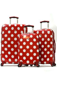 Polka Dot Hardcase Suitcases In Red. Good retirement gift for a recess teacher. Red Dots, Polka Dots, Hard Case Suitcase, Dots Fashion, Beyond The Rack, Retro, My Favorite Color, Travel Style, Just In Case
