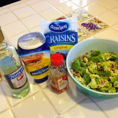 Broccoli salad...recipe on soup, salad, fruit maybe board. Super easy and yummy!