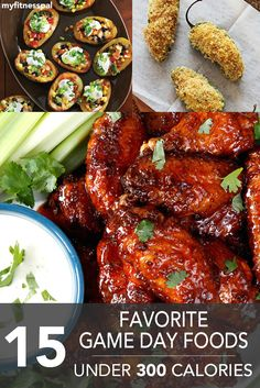 From wings to poppers, here are 15 Favorite Game Day Foods–Under 300 Calories! #supersnacksunday