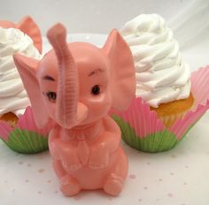 cute cupcakes with vintage elephant decoration