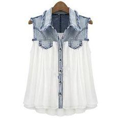 Stiching Denim Lapel Sleeveless White Chiffon Shirt S027