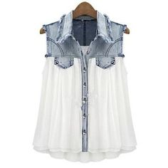 Stiching Denim Lapel Sleeveless White Chiffon Shirt S027