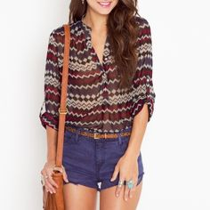 Nastygal Multicolor Zig Zag Blouse Gorgeous multicolor (wine) mesh-like blouse with v-neck collar opening. Super light material. Great condition Nasty Gal Tops Blouses