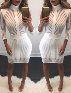 Sexy Cut Out Bodycon Dress in Black and White