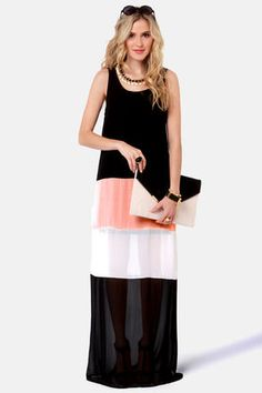 Check it out from Lulus.com! With color block chiffon and a marvelous maxi length, the Favorite Flavor Color Block Maxi Dress has something for everyone! Chiffon travels from tank straps to maxi-length hem through thick black, peach, and ivory stripes for total color block cuteness. Scoop neck and back team up with a 29