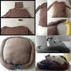 New pet bed from your old long sleeve top!