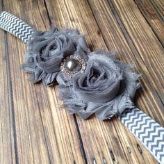 Gray Chevron Shabby Flower Headband, Baby Headband, Toddler Headband, Girls Headband by HeadbandsByHabegger on Etsy https://www.etsy.com/listing/209753323/gray-chevron-shabby-flower-headband-baby