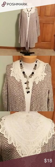 Long sleeve sweater cardigan Really cute with leggins and boots.  Slimmimg strips with the lace making everything stand out.  Lots of compliments while wearing this cardigan. Bo -Bel Sweaters Cardigans