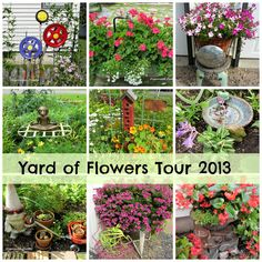 You are about to take a virtual tour of my sister in law's flower gardens.   <em class=short_underline>  </em>     They are something to behold! A riot of color from both annuals and perennials, sprinkled everywhere with whimsy!        <b>  North Corner Bed: </b>    <em class=short_underline>  </em>   This flower bed has an abundance of perennials, including liatris in the right front corner, hostas, lilies, with zinnia and nasturium annuals.    <em class=short_underline>  </em>    A…