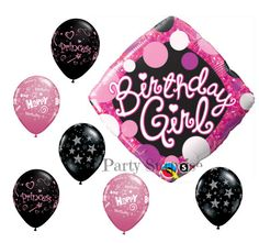 Birthday Girl Balloons Pink and Black Womens by PartySurprise