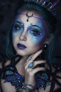 Gothic and Amazing, impressive makeup in hues of blue and violet