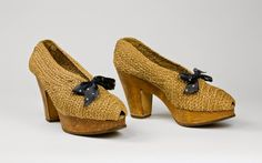 1944-45 French, wood soles and woven fiber, popular while the sale of leather shoes was banned due to rationing - A Step Into the Bata Shoe Museum: From Function to Fashion: Platform and Wedge Footwear of the 1930s and 1940s