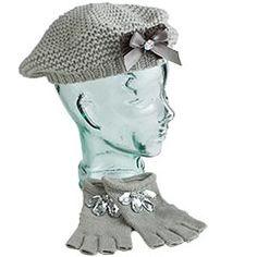 Gray Knit Gloves & Beret