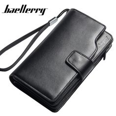 Baellerry Men Genuine Leather Wallets Multifunction High Capacity Zipper Hasp 3 Folds Credit Card Holder Clutch Wrist Bag Wallet #women, #men, #hats, #watches, #belts, #fashion, #style