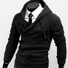 Mens Double zipper zipup Hoodie Jacket (Black)