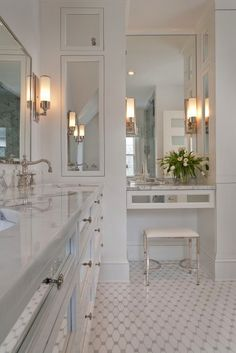 Suzie: Tiffany Eastman Interiors - Elegant ensuite bathroom with Waterworks Easton Telescope ...