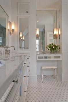 Suzie: Tiffany Eastman Interiors - Elegant ensuite bathroom with Waterworks Easton Telescope ...