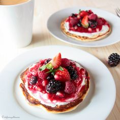 Delicious Fruit Pizzas, pancakes or waffles on bottom, add yogurt or sweetened cream cheese, top with fruit. Yum!