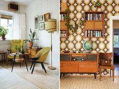 retro brown interior living room and hall Retro Interior Design, Brown Interior, Vintage Interiors, Home And Deco, Retro Home, Living Room Interior, Interior Inspiration, Living Spaces, Sweet Home