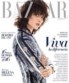 Steffy Argelich Pose for Harper's Bazaar Spain Magazine January 2016 Covers Photoshoot