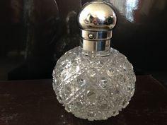 Antique 1898 England Cut Crystal Perfume Bottle/Sterling Silver LID HALLMARK G.B #GBGeorgeBedingham