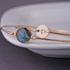 Personalized Bangle Bracelet Set, Gold Labradorite Bracelet by georgiedesigns