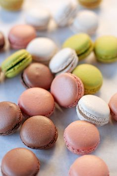 Learn how to make assorted macarons with chocolate ganache, vanilla buttercream, pistachio buttercream, and raspberry jam filling!