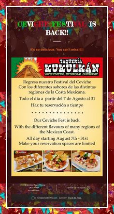 Ceviche Festival is Back! Ceviche, Beef, Events, Food, Meat, Happenings, Meal, Eten, Meals